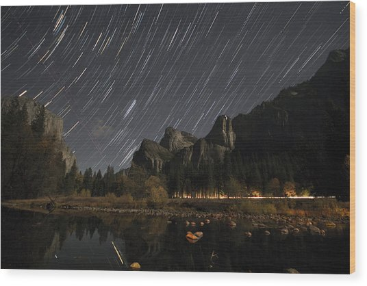 Star Trails Over Yosemite Wood Print