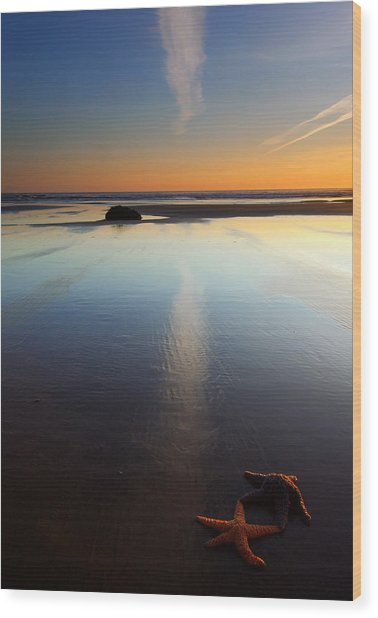 Starfish Sunset Wood Print