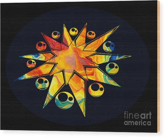 Staring Into Eternity Abstract Stars And Circles Wood Print