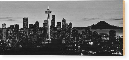 Stark Seattle Skyline Wood Print
