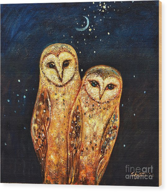 Starlight Owls Wood Print