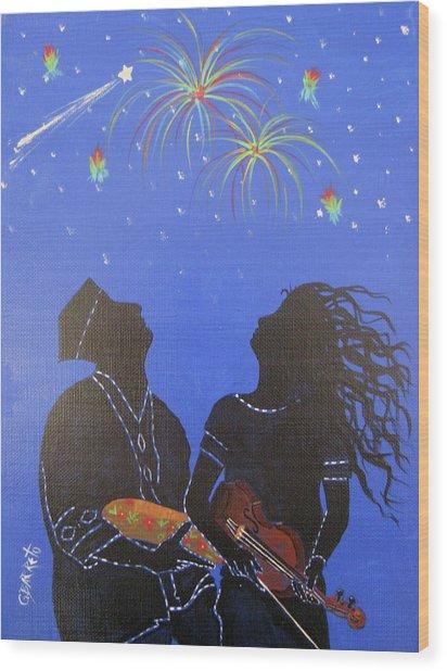 Starry Night Wood Print by Gloria E Barreto-Rodriguez