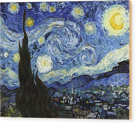 Starry Night Reproduction Art Work Wood Print