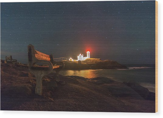 Starry Skies Over Nubble Lighthouse  Wood Print