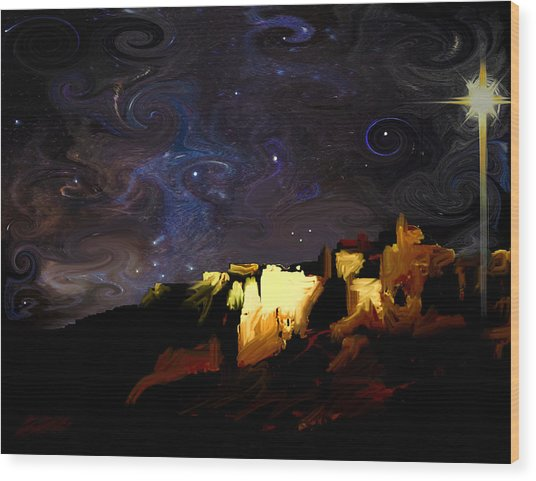 Starry Starry Bethlehem Night Wood Print by Ron Cantrell