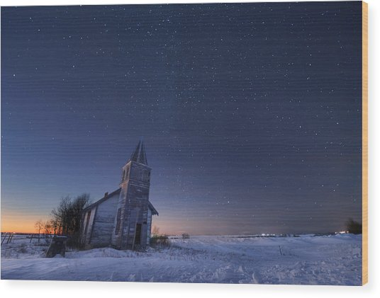 Starry Winter Night Wood Print