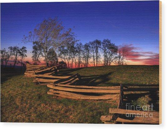 Stars At Sunrise On The Blue Ridge Wood Print
