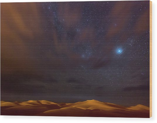 Stars, Dunes And Clouds In Marzuga Desert Wood Print by Tristan Shu
