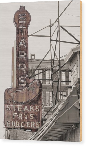 Stars Steaks Frys And Burgers Wood Print