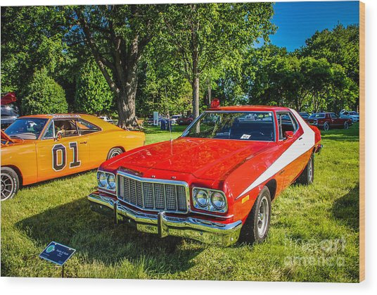 Starsky And Hutch Ford Gran Torino Wood Print