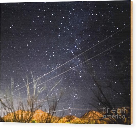 Stars Drunk On Lightpaint Wood Print