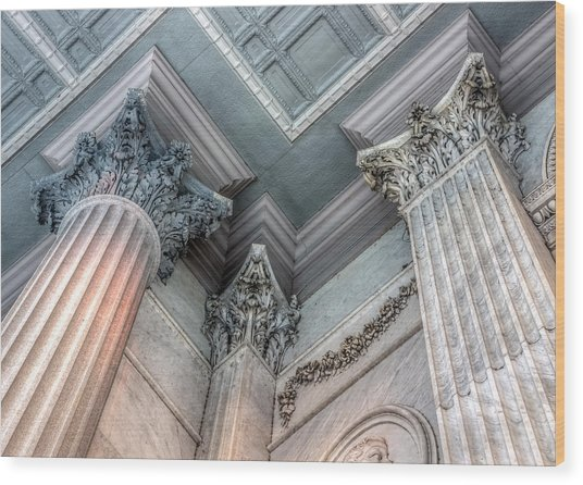 State House Exterior Columns Wood Print