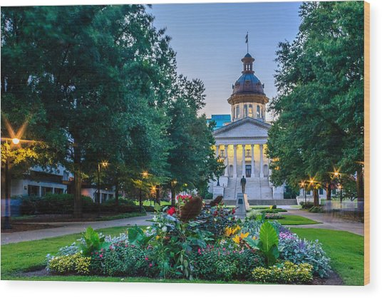 State House Garden Wood Print