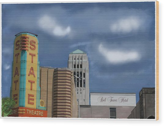 State Theater Wood Print by C A Soto Aguirre