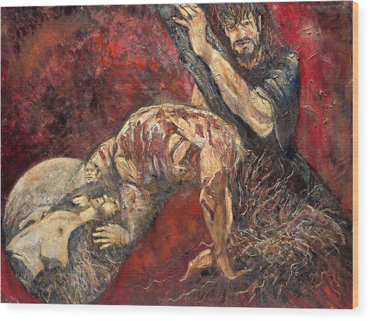 Station V Simon Of Cyrene Helps Jesus Carry His Cross Wood Print by Patricia Trudeau