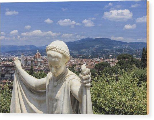 Statue At San Miniato Al Monte Wood Print by Rick Starbuck