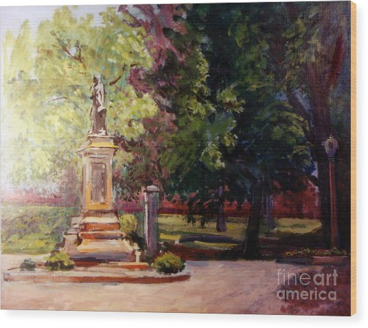 Statue In  Landscape Wood Print