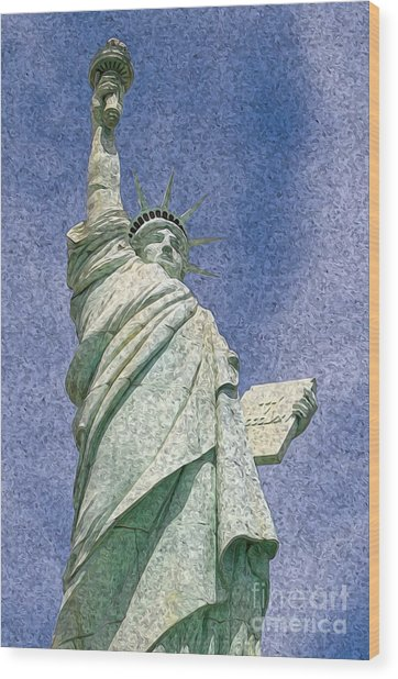 Statue Of Liberty Artistic Rendition Wood Print