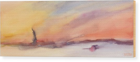 Statue Of Liberty At Sunset Watercolor Painting Of New York Wood Print