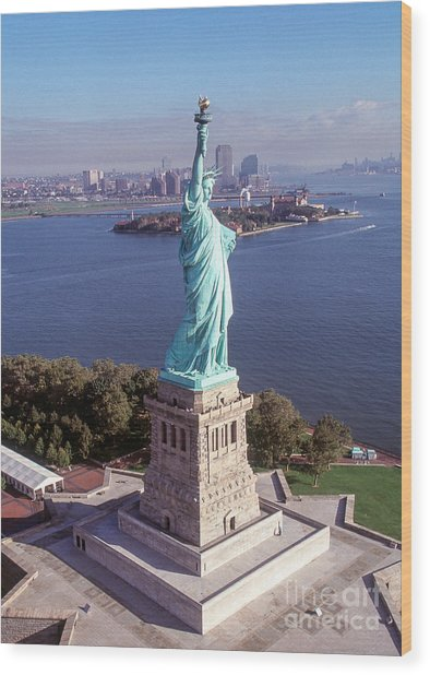 Statue Of Liberty Close Wood Print by Kim Lessel