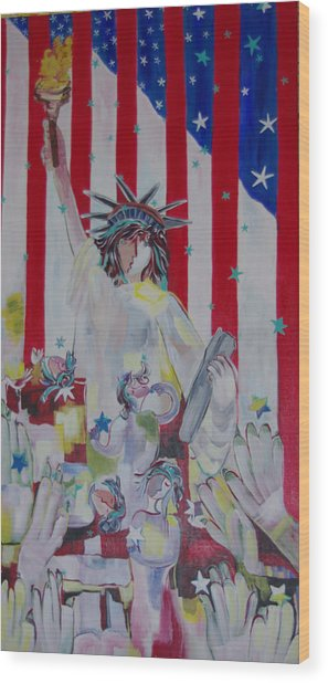 Statue Of Liberty/ Reaching For Freedom Wood Print