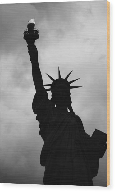 Statue Of Liberty Silhouette Wood Print