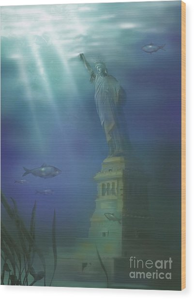 Statue Of Liberty Under Water Wood Print