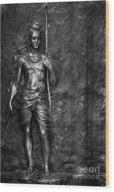 Statue Of Lord Sri Ram Wood Print