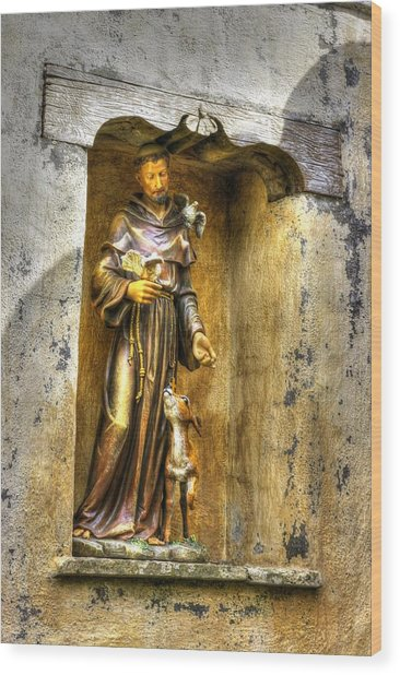 Statue Of Saint Francis Of Assisi - Alcove In The Gardens Of The Carmel Mission Wood Print