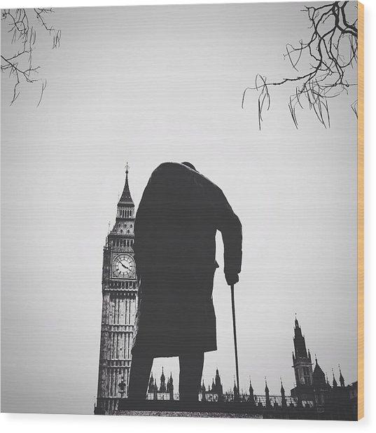 Statue Of Winston Churchill With Big Ben Wood Print by Gera Heusen / Eyeem