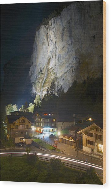 Staubbach Falls At Night In Lauterbrunnen Switzerland Wood Print