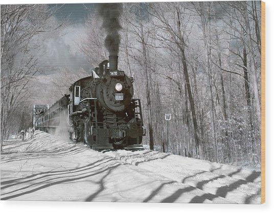 Steam And Snow Wood Print