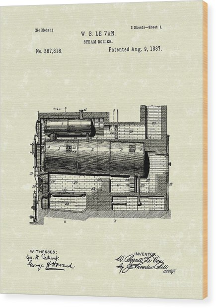 Steam Boiler 1887 Patent Art Wood Print