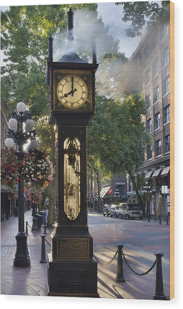 Steam Clock At Gastown Vancouver In The Morning Wood Print