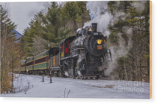 Steam In The Snow 2015 Wood Print