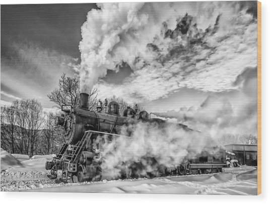 Steam In The Snow Black And White Version Wood Print