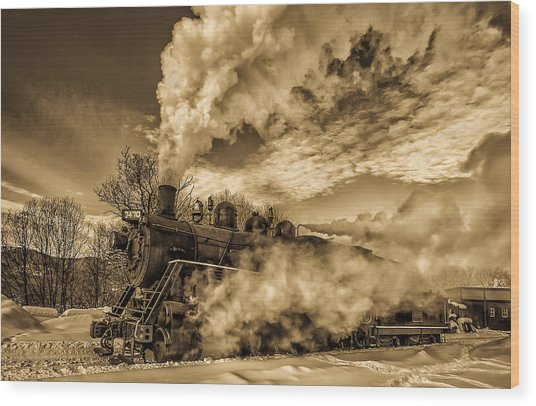 Steam In The Snow Wood Print