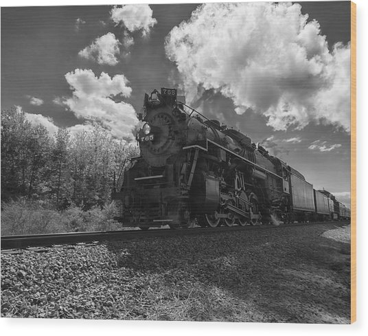Steam Locomotive Passing Through Wood Print