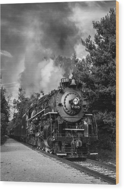 Steam On The Rails Wood Print