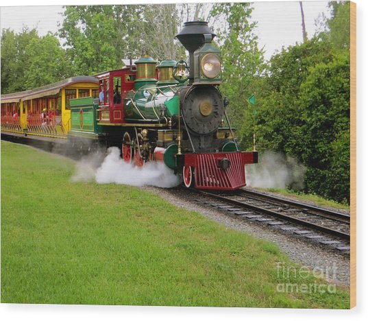 Steam Train Wood Print