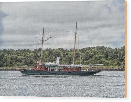 Steam Yacht Cangarda Wood Print