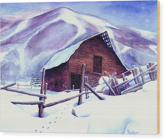 Steamboat Winter Wood Print