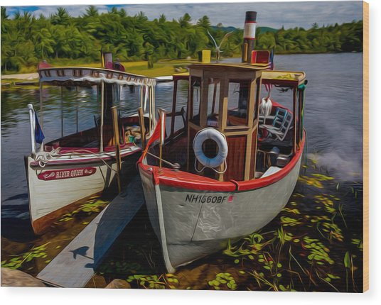 Steamboats On The Lake Wood Print