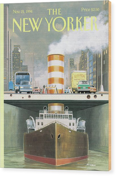 New Yorker November 21st, 1994 Wood Print by Bruce McCall