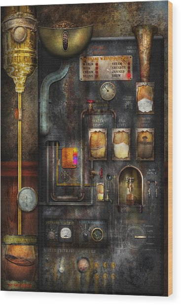 Steampunk - All That For A Cup Of Coffee Wood Print