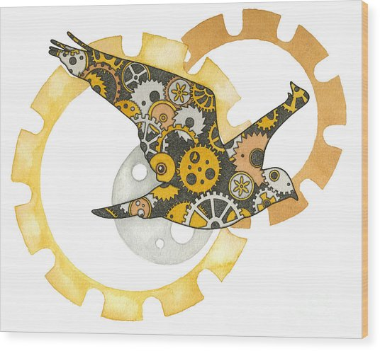 Steampunk Bird Wood Print by Nora Blansett