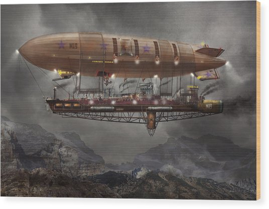 Steampunk - Blimp - Airship Maximus  Wood Print