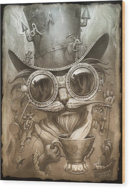 Steampunk Cat Wood Print by Jeff Haynie