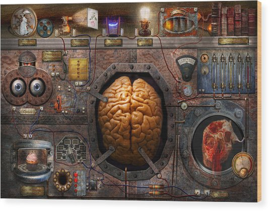 Steampunk - Information Overload Wood Print