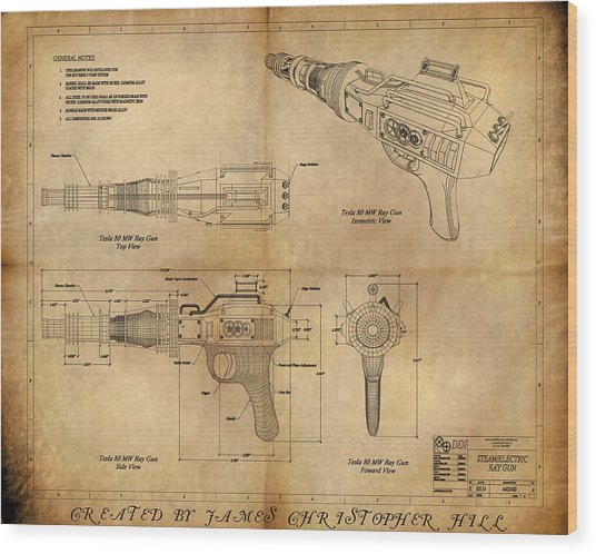 Steampunk Raygun Wood Print